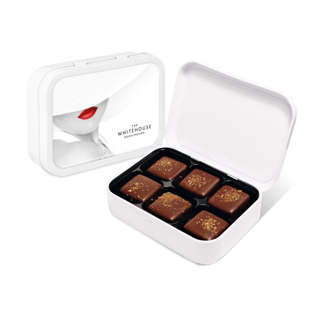 White Sweet Tin – Dark Chocolate Salted Caramels